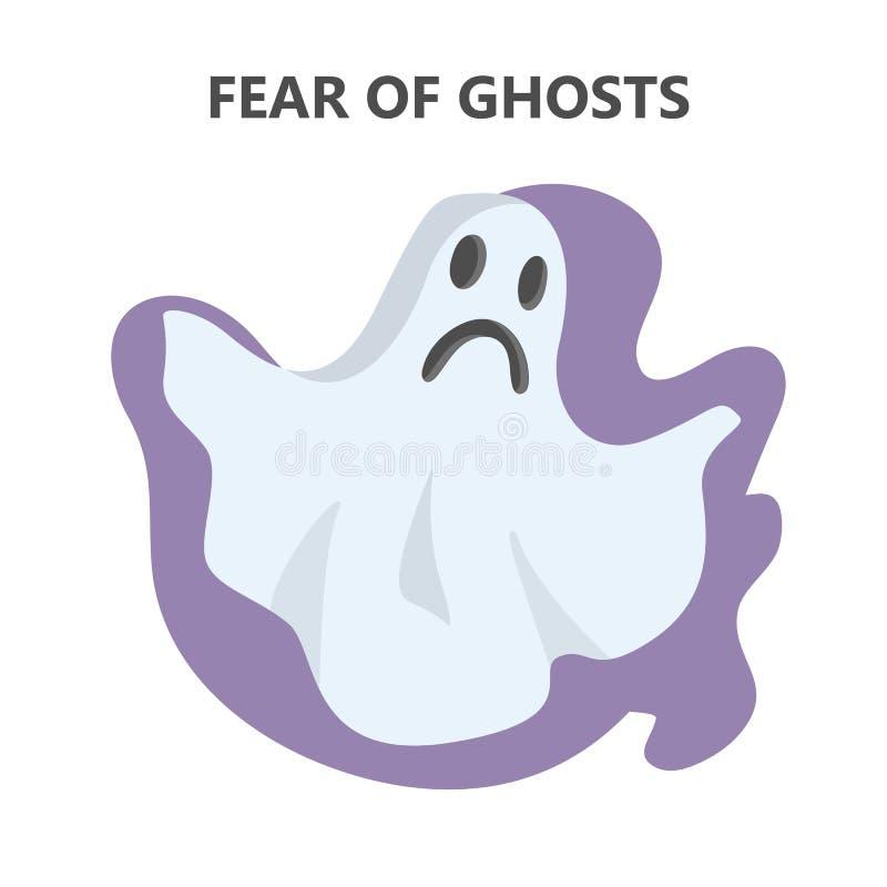 Φόβος του κακού και τρομακτικού χαρακτήρα φαντασμάτων απεικόνιση αποθεμάτων