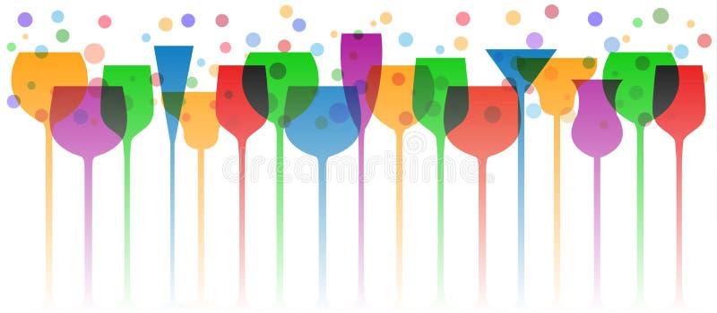 Φόντο για γυαλιά μπαρ Ποτήρι κρασί, κούπες, ποτήρια - διάνυσμα ελεύθερη απεικόνιση δικαιώματος