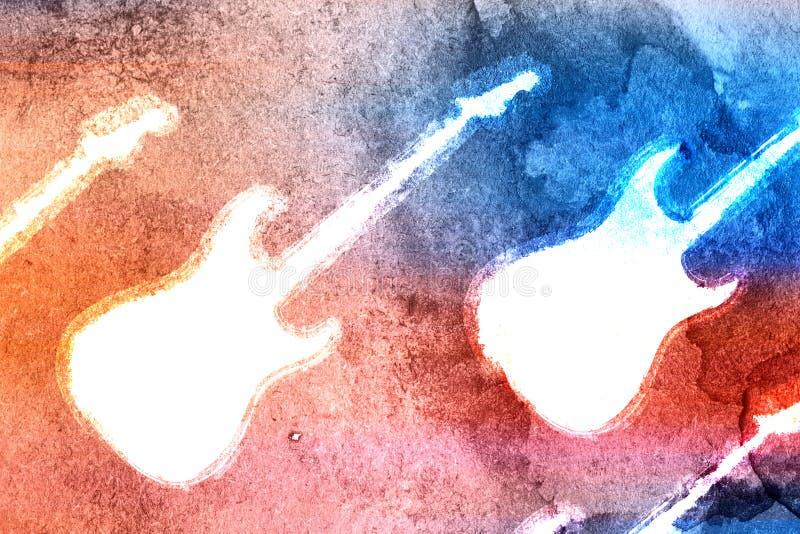 Φόντο κιθάρας με αφηρημένο χρώμα νερού στοκ εικόνες
