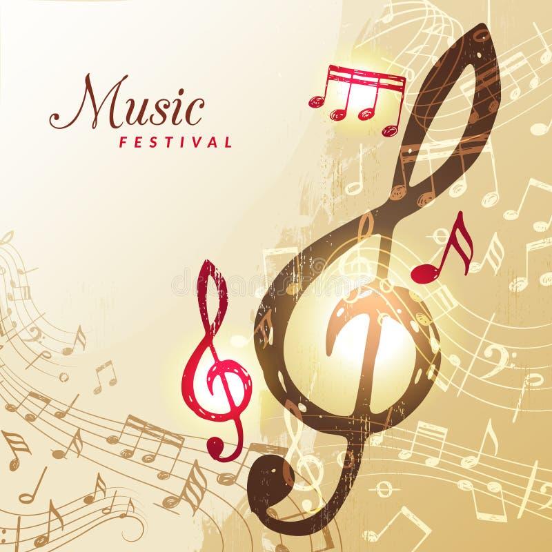 Φόντο μουσικών σημειώσεων Μουσικό τραγούδι φεστιβάλ ηχητική προσπάθεια απεικόνιση διαύλου διανυσματική απεικόνιση