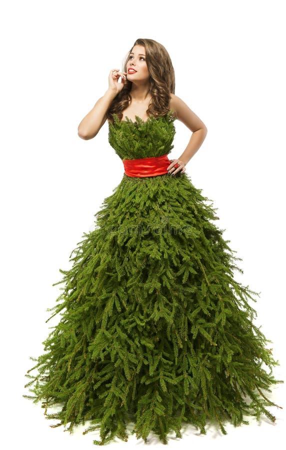 Φόρεμα γυναικών χριστουγεννιάτικων δέντρων, πρότυπο μόδας στη δημιουργική εσθήτα Χριστουγέννων στοκ εικόνα με δικαίωμα ελεύθερης χρήσης