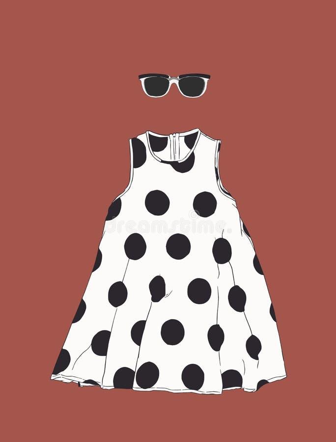 Φόρεμα σημείων Πόλκα με τα γυαλιά ήλιων, διάνυσμα σκίτσων διανυσματική απεικόνιση
