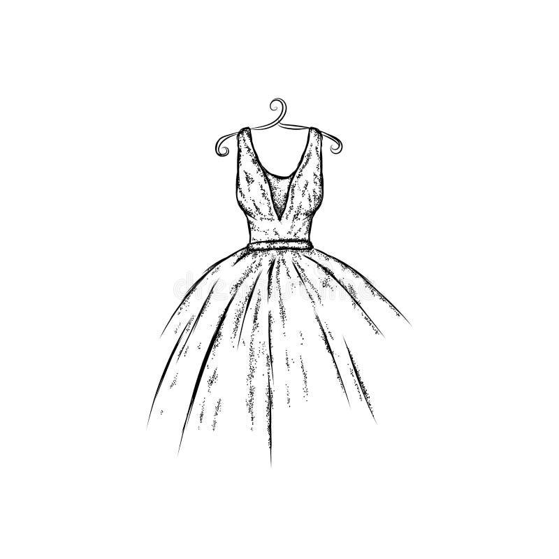 Φόρεμα στο διάνυσμα Ενδύματα σχεδίων χεριών Τρύγος Μόδα απεικόνιση αποθεμάτων