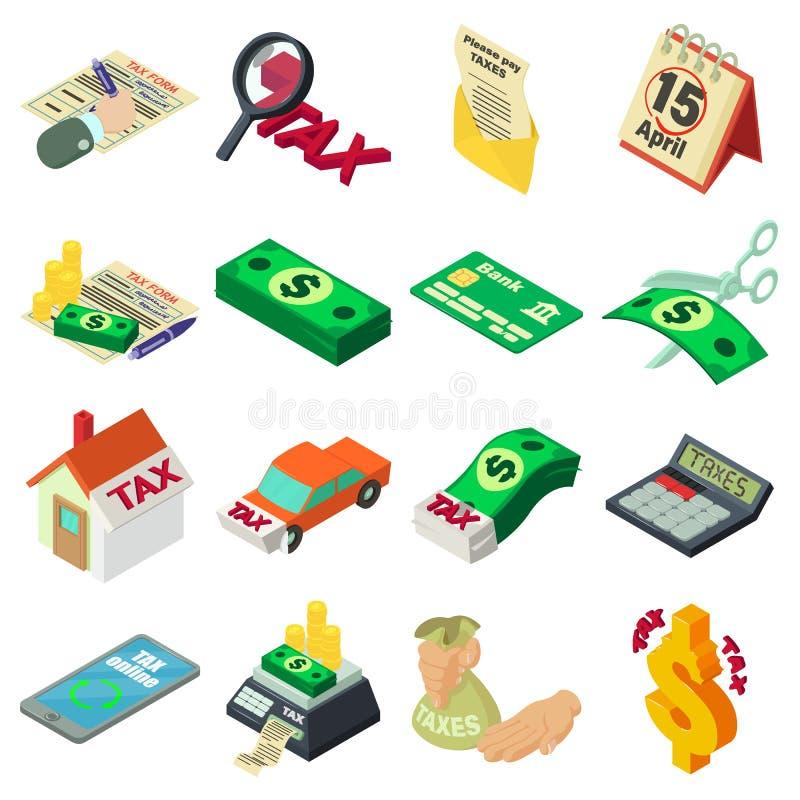Φόροι που λογαριάζουν τα εικονίδια χρημάτων καθορισμένα, isometric ύφος διανυσματική απεικόνιση