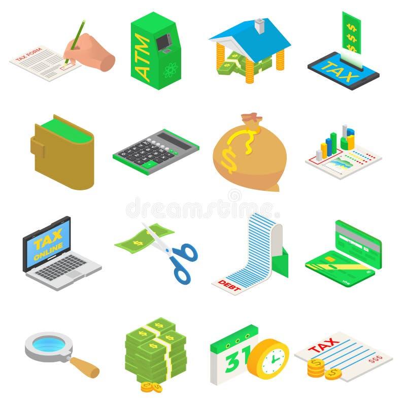 Φόροι που λογαριάζουν τα εικονίδια χρημάτων καθορισμένα Isometric απεικόνιση 16 φόρων που λογαριάζουν τα χρήματα τα διανυσματικά  διανυσματική απεικόνιση