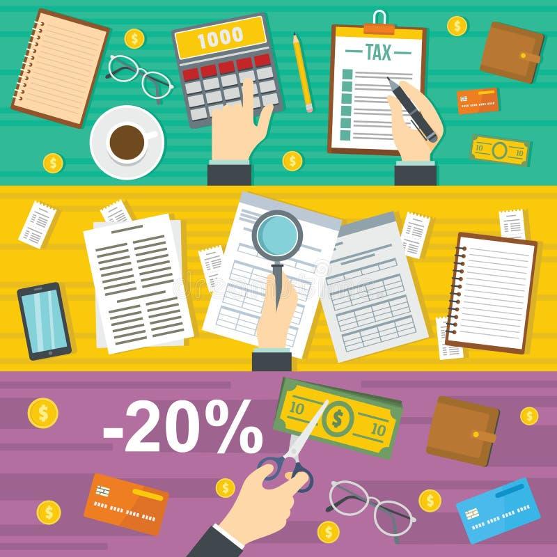 Φόροι που λογαριάζουν το έμβλημα το οριζόντιο σύνολο, επίπεδο ύφος διανυσματική απεικόνιση