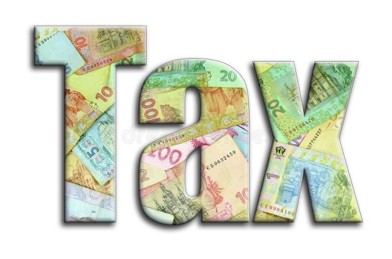φόρος Η επιγραφή έχει μια σύσταση της φωτογραφίας, η οποία απεικονίζει πολλούς ουκρανικούς λογαριασμούς χρημάτων στοκ φωτογραφία με δικαίωμα ελεύθερης χρήσης