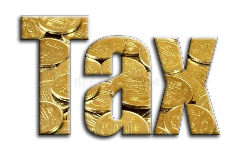 φόρος Η επιγραφή έχει μια σύσταση της φωτογραφίας, η οποία απεικονίζει πολλά ουκρανικά νομίσματα στοκ φωτογραφία με δικαίωμα ελεύθερης χρήσης