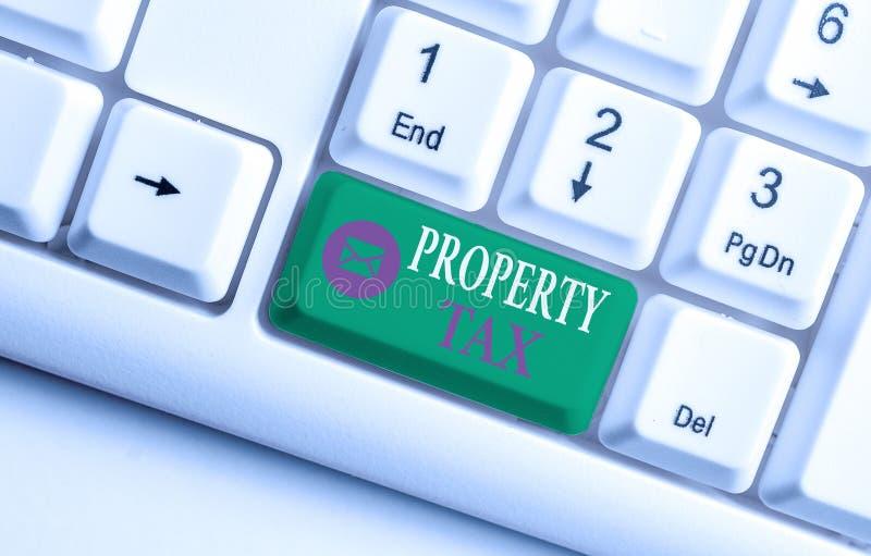Φόρος ιδιοτήτων εγγραφής κειμένου στο Word Επιχειρηματική ιδέα για έναν κατ' αξία φόρο επί της αξίας ενός ακινήτου Millage rate W στοκ εικόνα