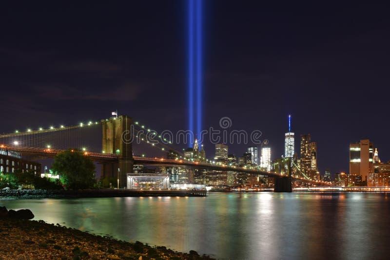 Φόρος στα φω'τα, το 9/11 Μανχάταν, 2016 στοκ φωτογραφία με δικαίωμα ελεύθερης χρήσης