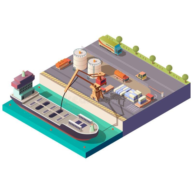 Φόρτωση σκαφών βυτιοφόρων στο isometric διάνυσμα λιμένων διανυσματική απεικόνιση