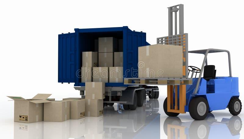 Φόρτωση των κιβωτίων σε ένα εμπορευματοκιβώτιο διανυσματική απεικόνιση
