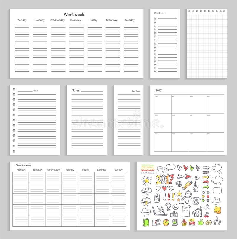 Φύλλα εγγράφου με το κενές σχέδιο, τις σημειώσεις και τα διαγράμματα ελεύθερη απεικόνιση δικαιώματος