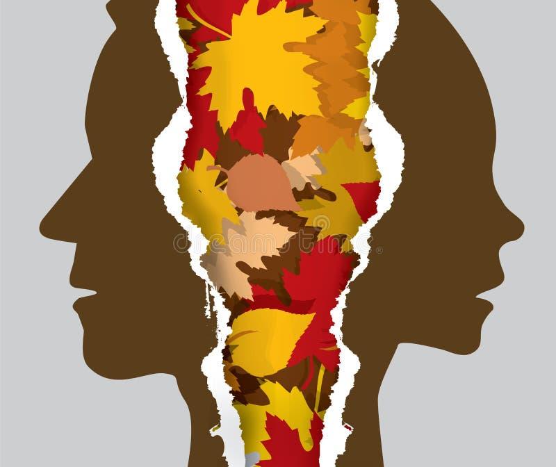 Φύλλα ζευγών και φθινοπώρου διαζυγίου απεικόνιση αποθεμάτων