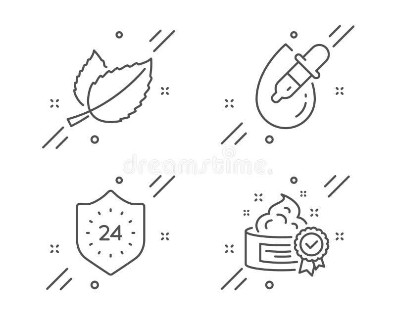 Φύλλα μεντών, 24 ώρες και εικονίδια πτώσεων ματιών καθορισμένα Σημάδι κρέμας Mentha βοτανικό, προστασία, σιφώνιο Καλύτερο λοσιόν  διανυσματική απεικόνιση