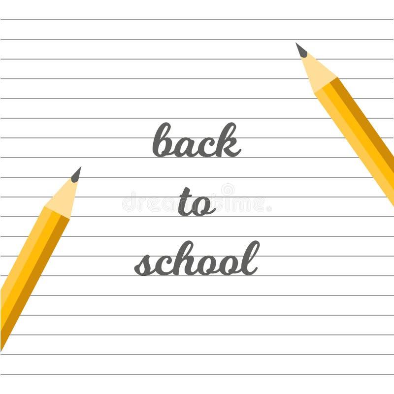 Φύλλα του εγγράφου και των μολυβιών πίσω στο έμβλημα σχολικών κειμένων απεικόνιση αποθεμάτων