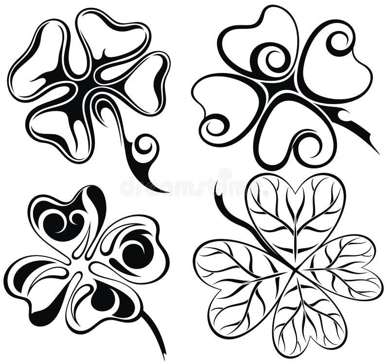 Φύλλα τριφυλλιών Διακοσμητικό ύφος τεσσάρων τριφυλλιών φύλλων ελεύθερη απεικόνιση δικαιώματος