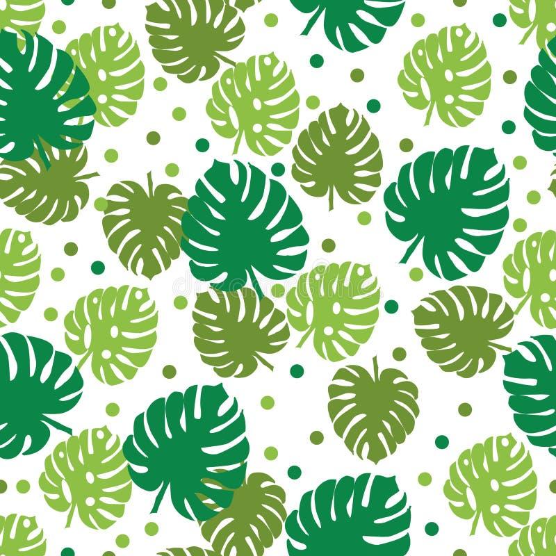 φύλλα τροπικά Φοίνικας και monstera άνευ ραφής διάνυσμα προτύπ&omeg απεικόνιση αποθεμάτων