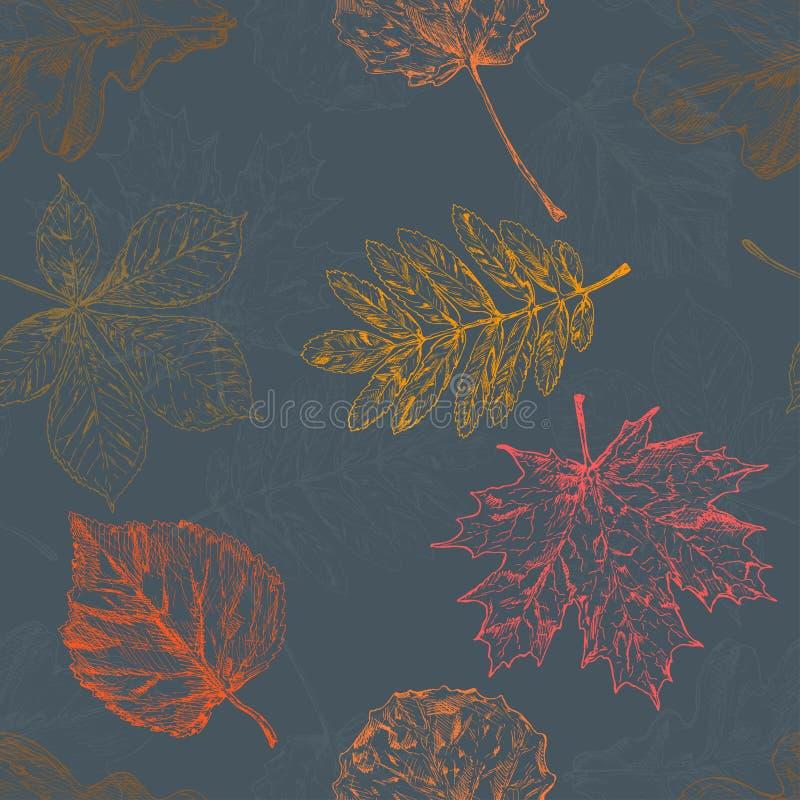 Φύλλα φθινοπώρου πρότυπο άνευ ραφής συρμένος εικονογράφος απεικόνισης χεριών ξυλάνθρακα βουρτσών ο σχέδιο όπως το βλέμμα κάνει τη απεικόνιση αποθεμάτων
