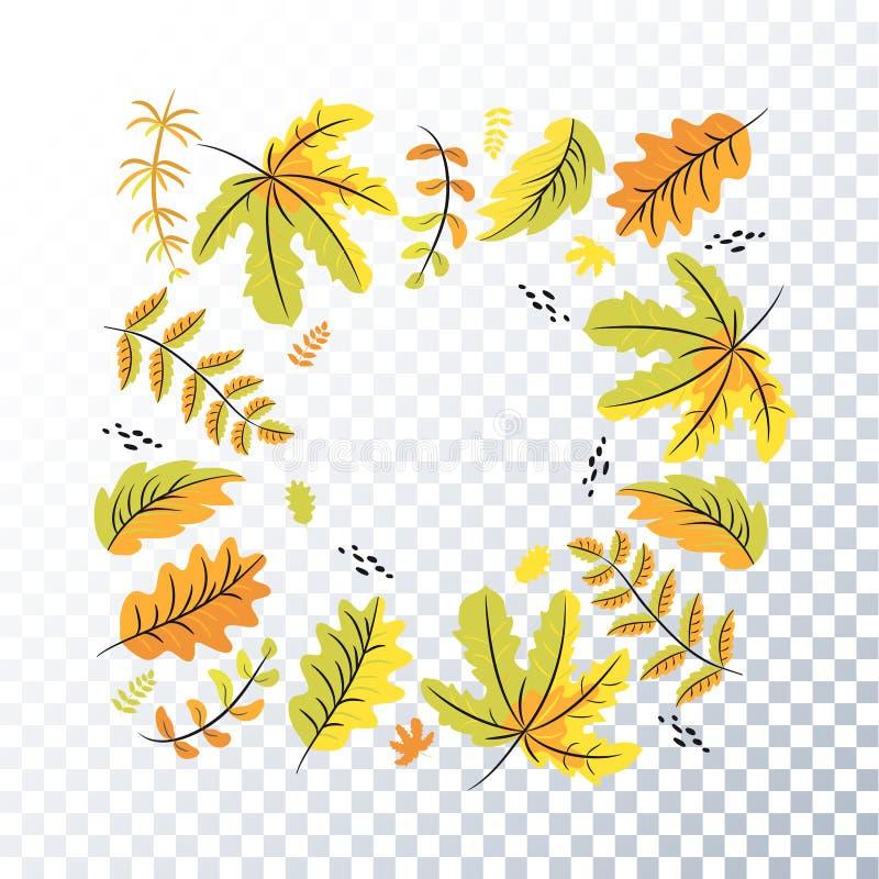 Φύλλα φθινοπώρου σε ένα διαφανές υπόβαθρο Πλαίσιο φθινοπώρου απεικόνιση αποθεμάτων