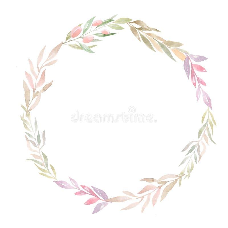 Φύλλα φθινοπώρου Watercolor γύρω από το πλαίσιο στοκ φωτογραφία με δικαίωμα ελεύθερης χρήσης
