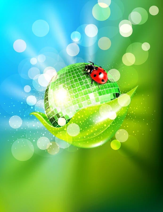 Φύλλο, αντανακλημένη σφαίρα disco και ένα ladybug διανυσματική απεικόνιση