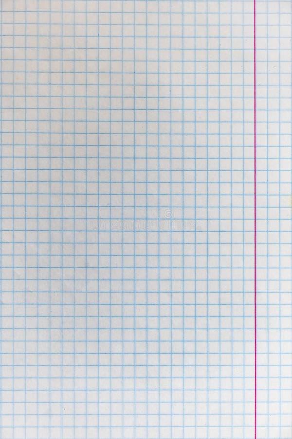 Φύλλο από το σχολικό σημειωματάριο στο κλουβί στοκ εικόνες