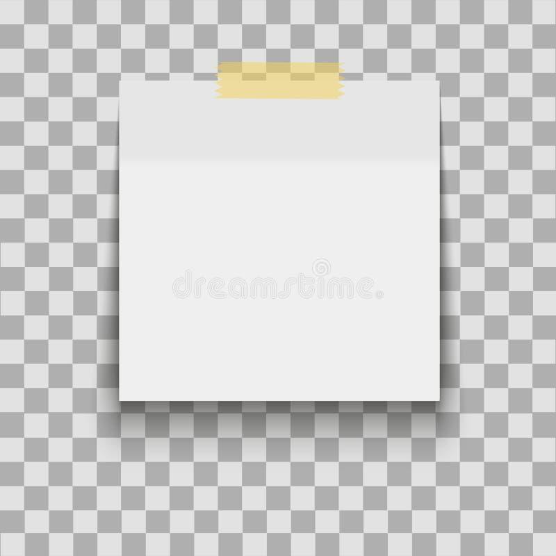 Φύλλο εγγράφου στη διαφανή κολλώδη ταινία με τη σκιά Κενό πρότυπο σημειώσεων για το σχέδιό σας επίσης corel σύρετε το διάνυσμα απ ελεύθερη απεικόνιση δικαιώματος