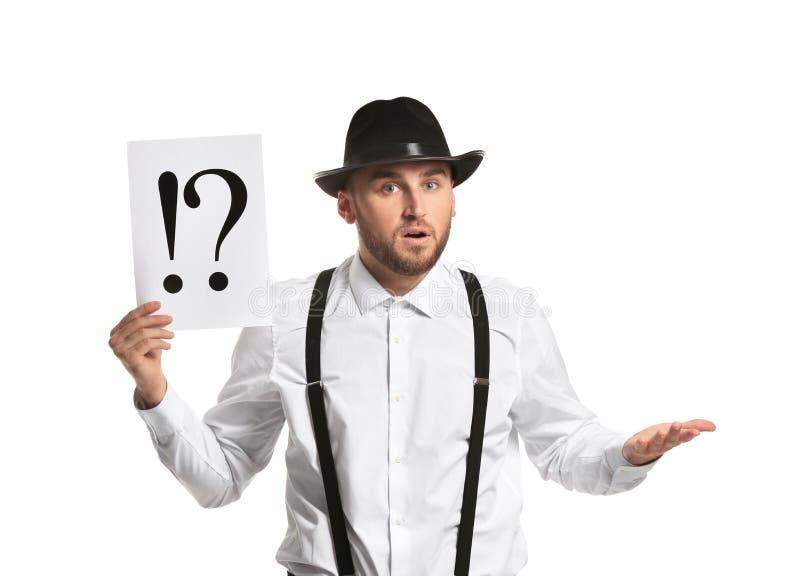Φύλλο εκμετάλλευσης ιδιωτικών αστυνομικών του εγγράφου με τα σημάδια θαυμαστικών και ερώτησης στο άσπρο υπόβαθρο στοκ φωτογραφίες με δικαίωμα ελεύθερης χρήσης