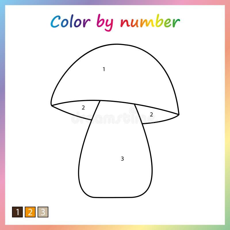 φύλλο εργασίας για την εκπαίδευση σελίδα ζωγραφικής, χρώμα από τους αριθμούς παιχνίδι για τα προσχολικά παιδιά απεικόνιση αποθεμάτων