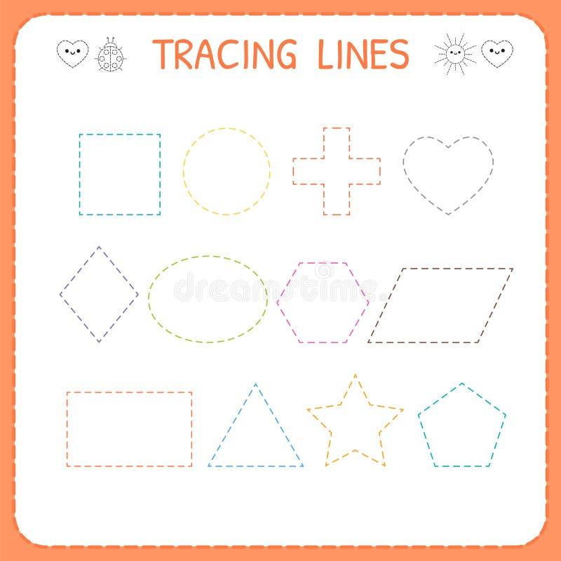 Φύλλο εργασίας γραμμών ιχνών για τα παιδιά Λειτουργώντας σελίδες για τα παιδιά Φύλλο εργασίας παιδικών σταθμών ή παιδικών σταθμών διανυσματική απεικόνιση