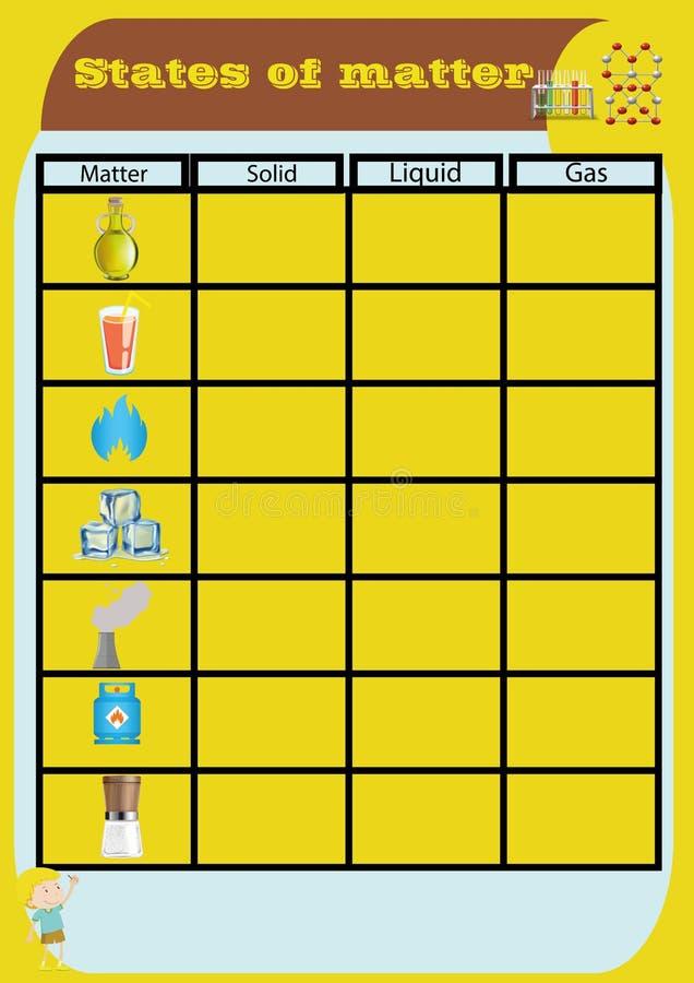 Φύλλο εργασίας κρατικού θέματος Απεικόνιση των στερεών μορίων υγρού αερίου σε έναν κύβο, ένα γυαλί και ένα μπαλόνι για την κατηγο απεικόνιση αποθεμάτων