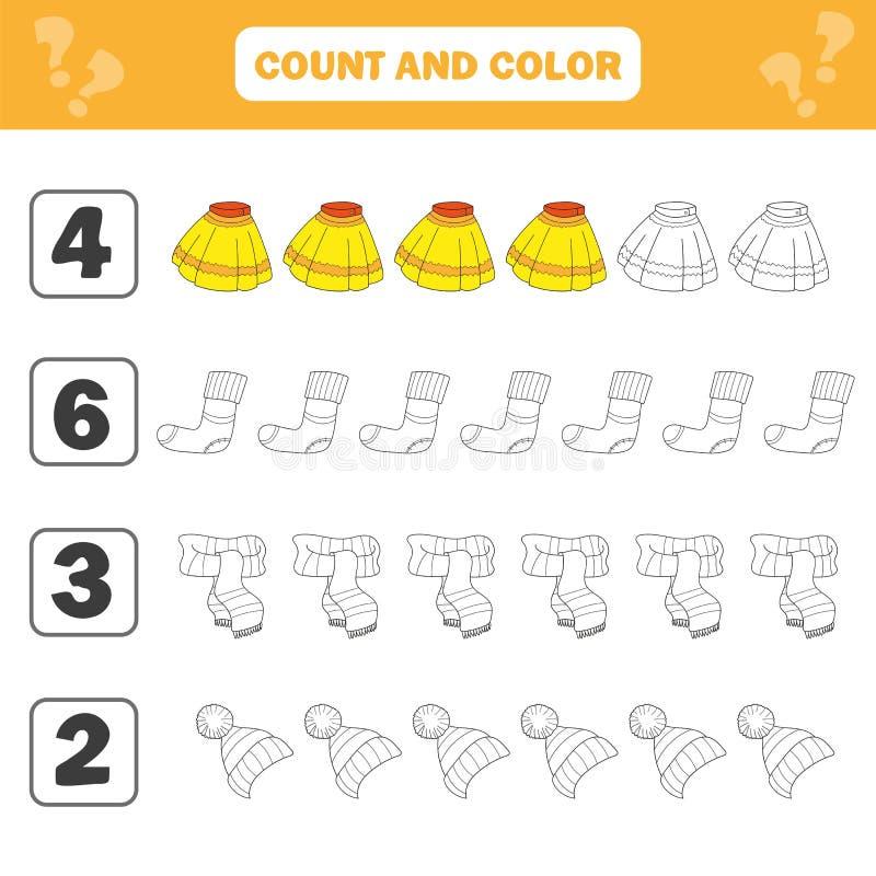 Φύλλο εργασίας μαθηματικών για τα παιδιά Εκπαιδευτική δραστηριότητα παιδιών αρίθμησης και χρώματος διανυσματική απεικόνιση