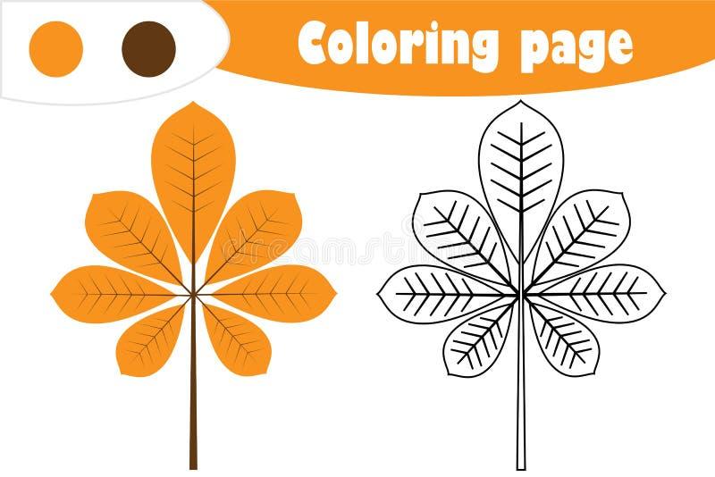 Φύλλο κάστανων στο ύφος κινούμενων σχεδίων, χρωματίζοντας σελίδα φθινοπώρου, παιχνίδι εγγράφου εκπαίδευσης για την ανάπτυξη των π ελεύθερη απεικόνιση δικαιώματος