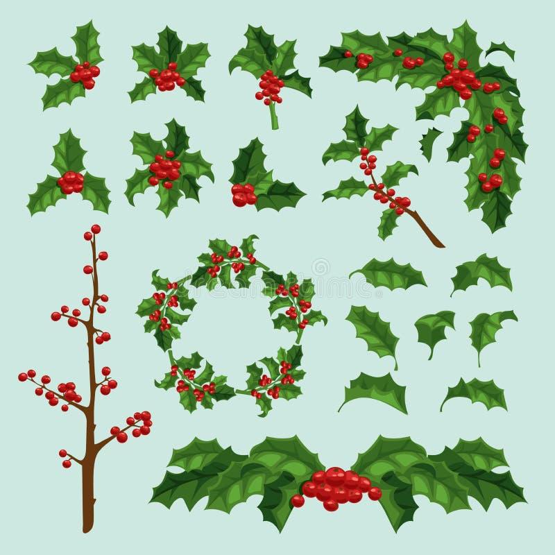 Φύλλο και κλάδος vectror μούρων γκι Χαρούμενα Χριστούγεννας Παραδοσιακή συρμένη χέρι ευχετήρια κάρτα μούρων Χριστουγέννων διακοπέ διανυσματική απεικόνιση