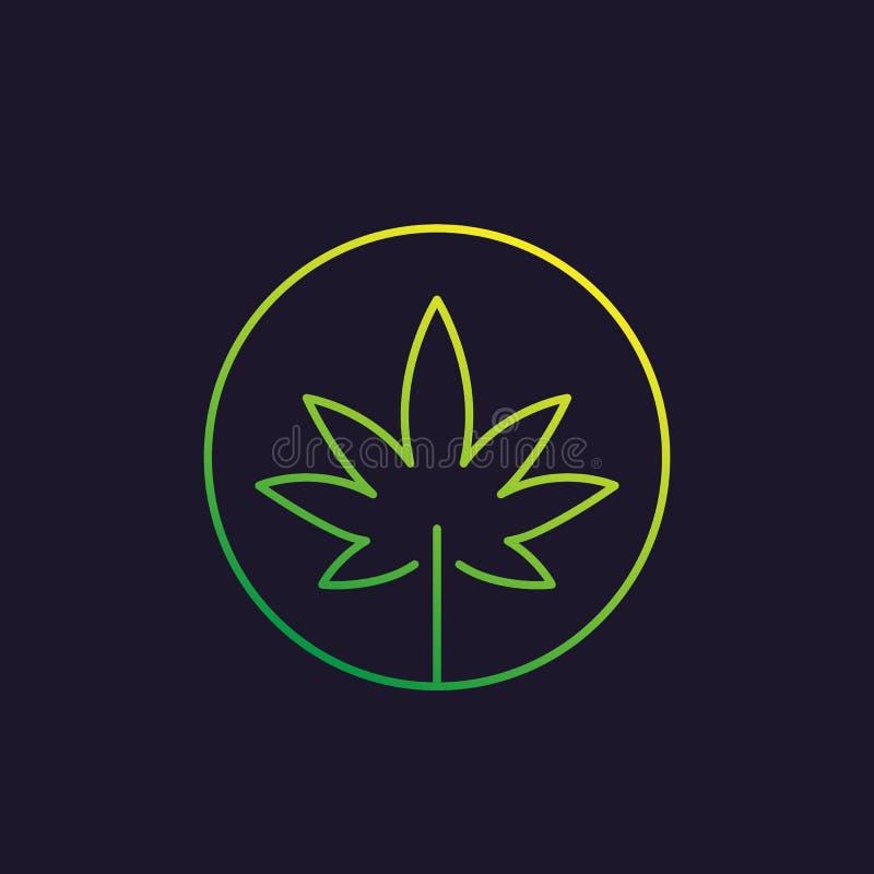 Φύλλο μαριχουάνα, διανυσματικό γραμμικό εικονίδιο καννάβεων διανυσματική απεικόνιση