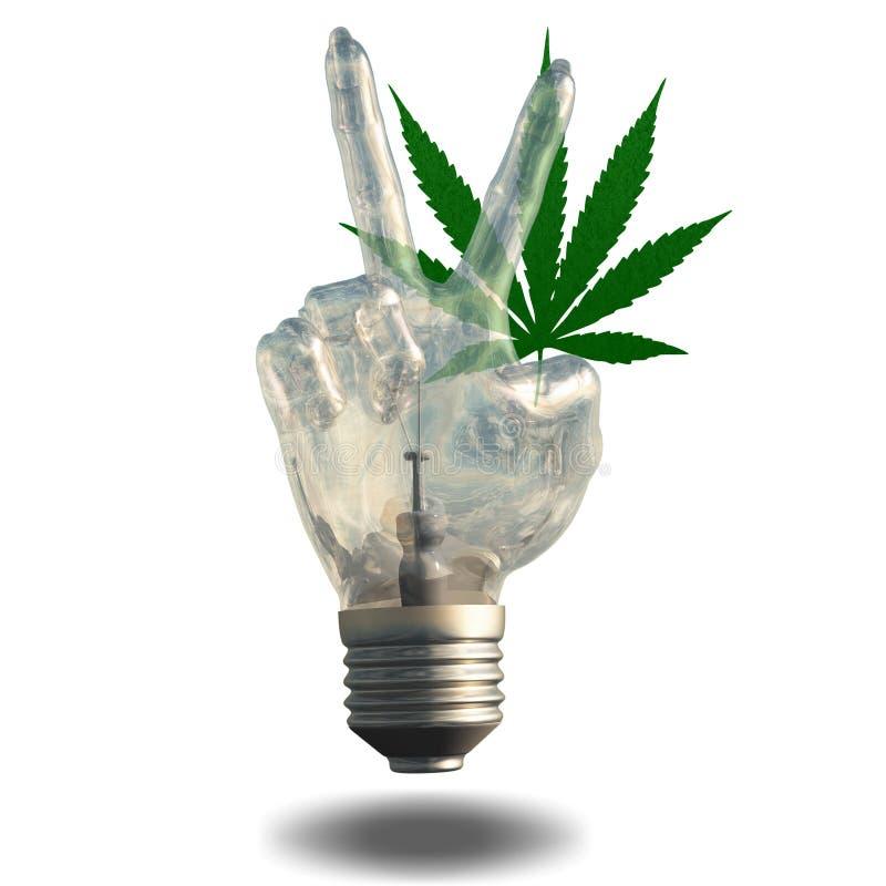 Φύλλο μαριχουάνα λαμπών φωτός σημαδιών ειρήνης ελεύθερη απεικόνιση δικαιώματος