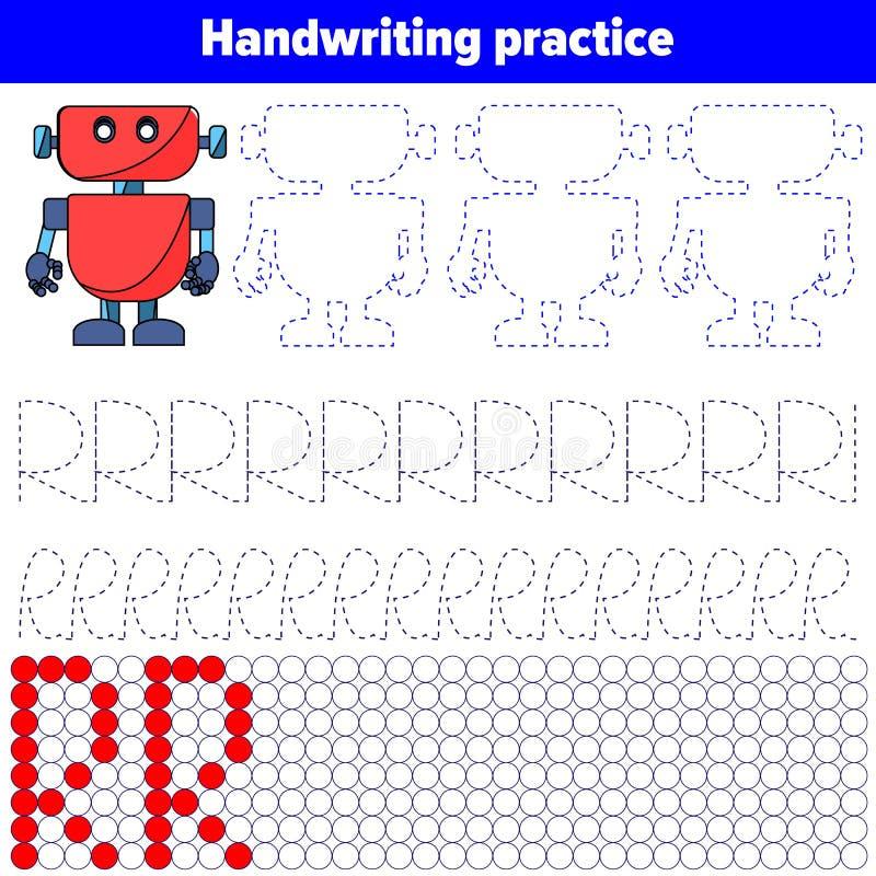 Φύλλο πρακτικής γραφής Εκπαιδευτική διανυσματική απεικόνιση παιχνιδιών παιδιών απεικόνιση αποθεμάτων