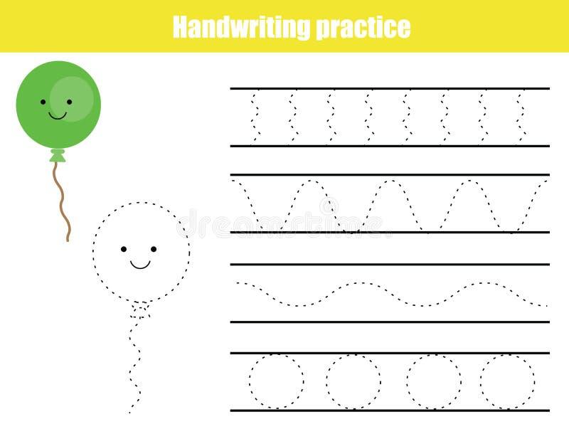 Φύλλο πρακτικής γραφής Εκπαιδευτικό παιχνίδι παιδιών, εκτυπώσιμο φύλλο εργασίας για τα παιδιά Γράφοντας εκτυπώσιμο φύλλο εργασίας απεικόνιση αποθεμάτων