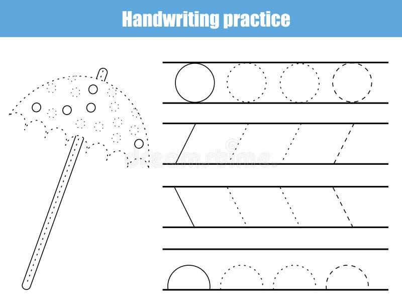 Φύλλο πρακτικής γραφής Εκπαιδευτικό παιχνίδι παιδιών, εκτυπώσιμο φύλλο εργασίας για τα παιδιά Γράφοντας εκτυπώσιμο φύλλο εργασίας διανυσματική απεικόνιση