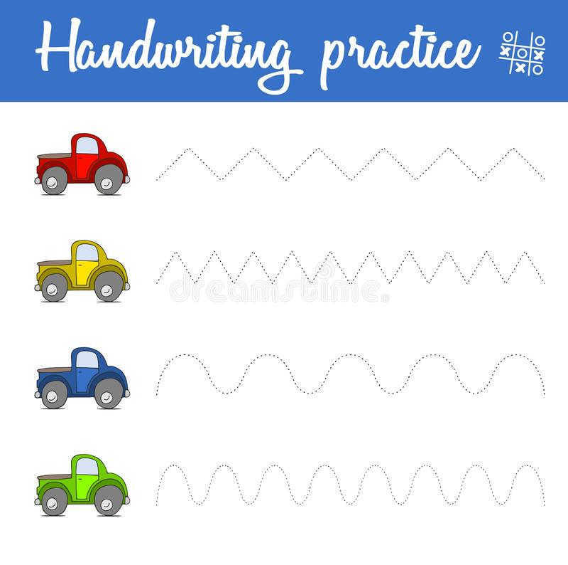 Φύλλο πρακτικής γραφής με τα αυτοκίνητα Βασικές δεξιότητες σύνταξης εγγράφου τραίνων Εκπαιδευτικό παιχνίδι διανυσματική απεικόνιση