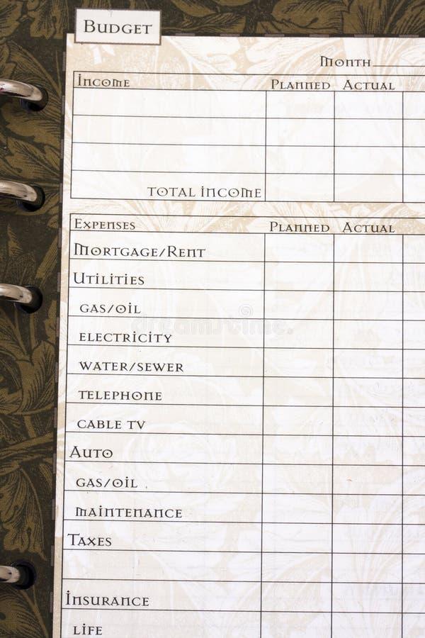 φύλλο προϋπολογισμών στοκ φωτογραφίες