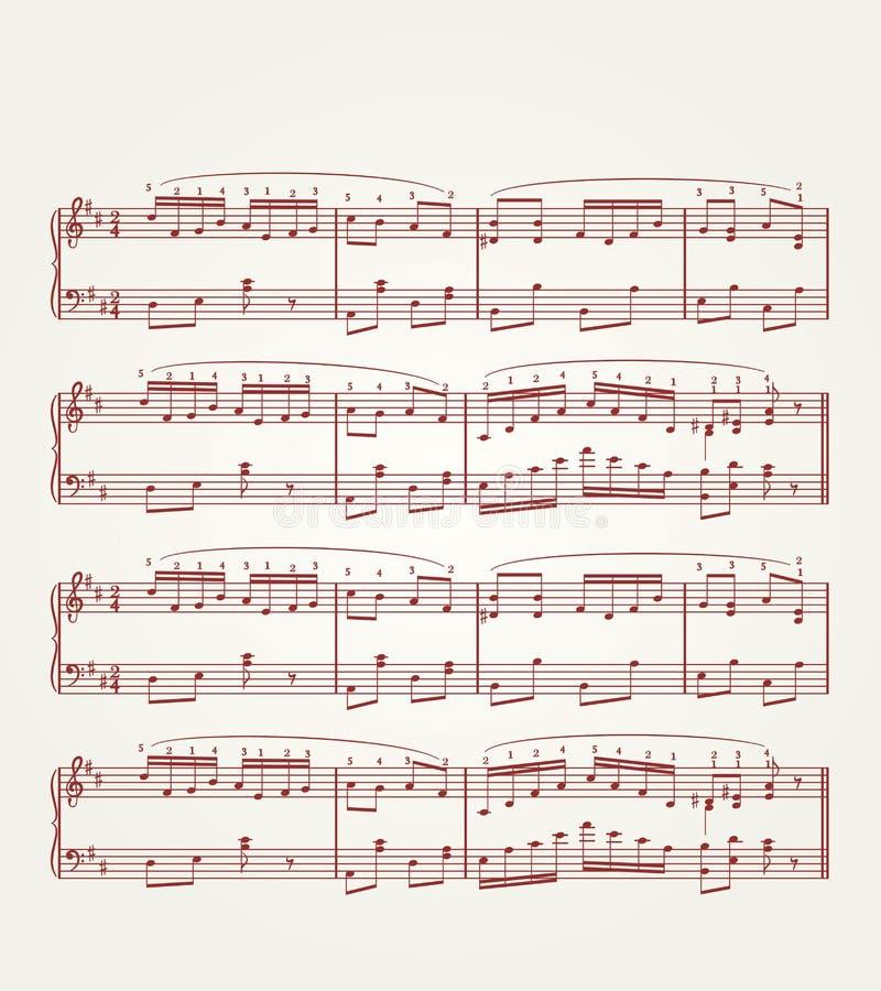 φύλλο σημειώσεων μουσι&ka διανυσματική απεικόνιση