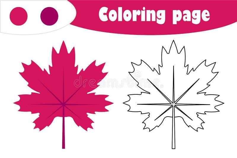 Φύλλο σφενδάμου στο ύφος κινούμενων σχεδίων, χρωματίζοντας σελίδα φθινοπώρου, παιχνίδι εγγράφου εκπαίδευσης για την ανάπτυξη των  διανυσματική απεικόνιση