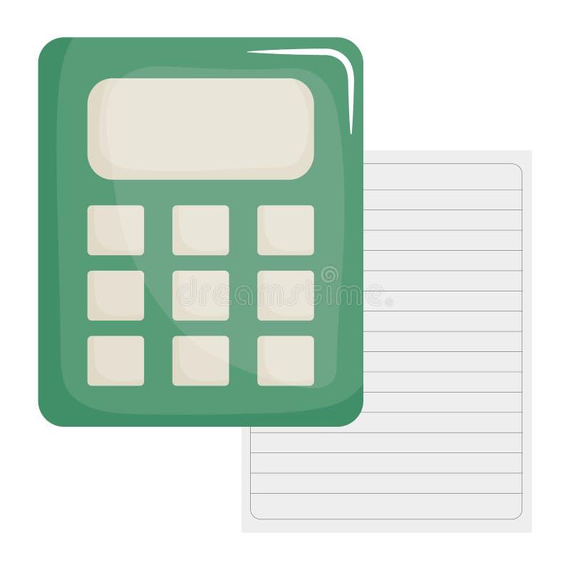Φύλλο του εγγράφου σημειωματάριων με τον υπολογιστή ελεύθερη απεικόνιση δικαιώματος