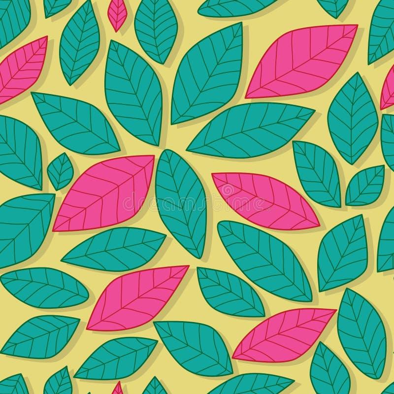 Φύλλων άνευ ραφής σχέδιο χρώματος κρητιδογραφιών ρόδινο και πράσινο ελεύθερη απεικόνιση δικαιώματος