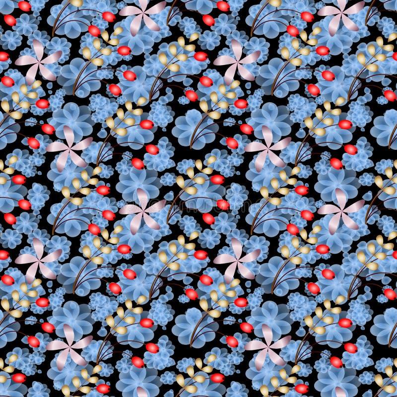 Φύλλων άνευ ραφής υπόβαθρο ράστερ μούρων και λουλουδιών αφηρημένο στοκ εικόνες