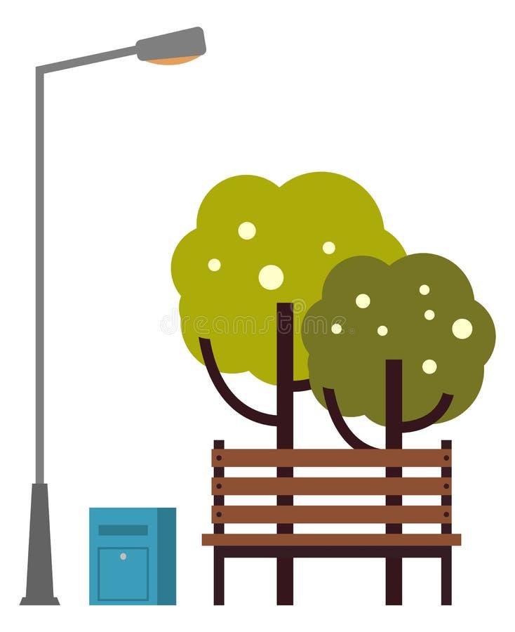 Φύση άνοιξη του πάγκου πάρκων με τα δέντρα και το φανάρι απεικόνιση αποθεμάτων