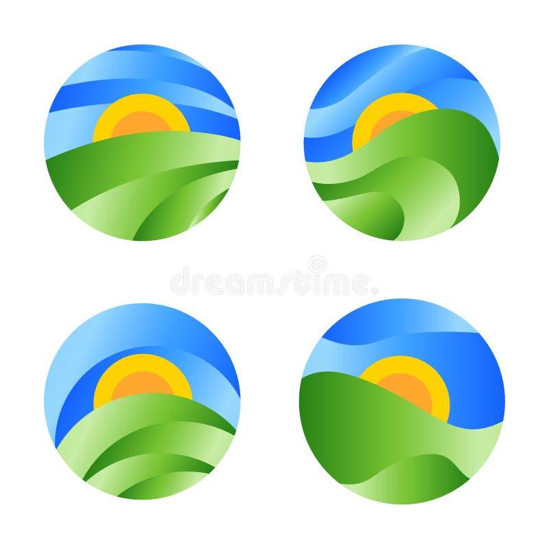 Φύση γύρω από το εικονίδιο τοπίων, κίτρινη ανατολή στον πράσινο τομέα στο μπλε ουρανό Διανυσματικό αφηρημένο λογότυπο κύκλων ελεύθερη απεικόνιση δικαιώματος
