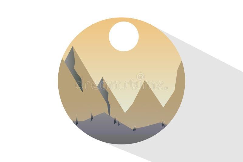 Φύση εικονιδίων το μεσημέρι Υπαίθρια έννοια σχεδίου Όμορφο τοπίο διανυσματική απεικόνιση